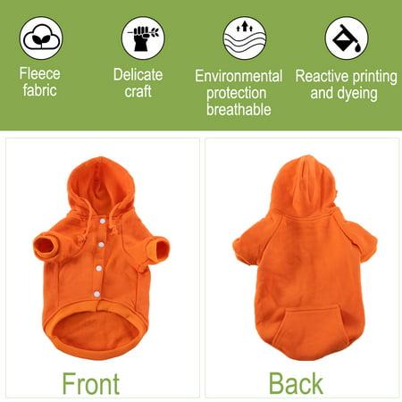 Polyester Dog Sweatshirt Hooded Hoody Pet Winter Clothes Coat w Pocket Orange L - image 3 of 7