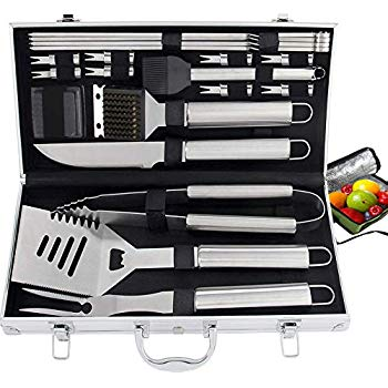 21pc Complete Grill Accessories Kit with Cooler Bag - The Very Best Grill Gift for Everyone on Christmas - Professional BBQ Accessories Set with Case for Outdoor Camping Grilling Smoking Very Best Gifts