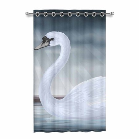 - MKHERT Graceful White Mute Swan Blackout Window Curtain Drapes Bedroom Living Room Kitchen Curtains 52x84 inch