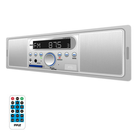PYLE PLMR7BTW - Marine Bluetooth Stereo Radio - 12v Single DIN Style Digital Boat in Dash Radio Receiver System with Built-in Mic and Speakers, RCA, MP3, USB, SD, AM FM Radio - Remote Control