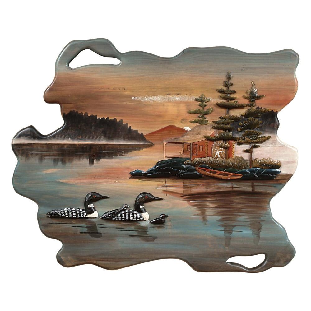 Lake Cabin Wood Carving Lodge Wall Art - Lodge Decor