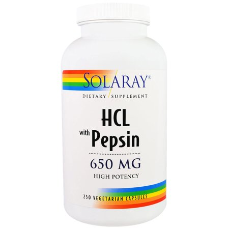 Solaray  HCL with Pepsin  650 mg  250 Vegetarian Capsules