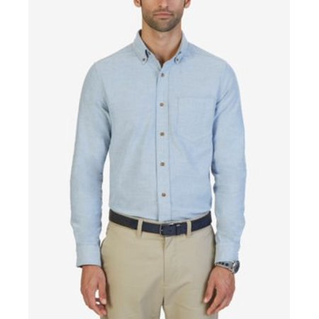 NEW NAUTICA TRUE BLUE ANSON TEXTURED CLASSIC FIT OXFORD THICK CASUAL SHIRT SZ S Loose Fit Oxford