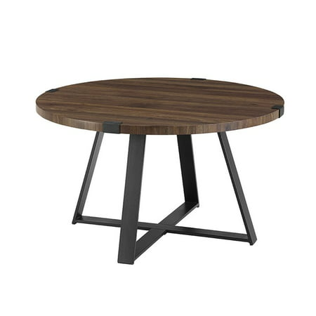 Walker Edison 30 Metal Wrap Round Coffee Table - Dark Walnut and Black