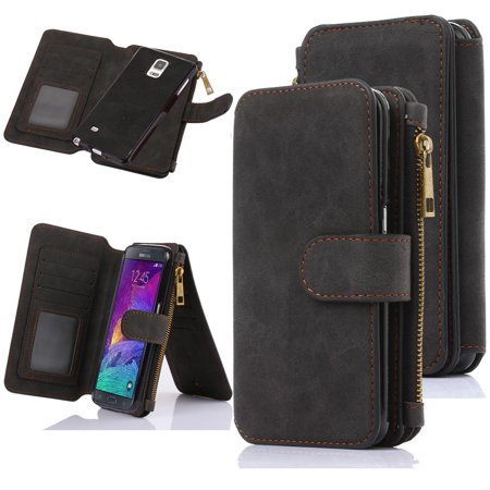buy online 9d5ce d8893 Galaxy Note 4 Case, Note 4 Wallet Case, 12 Card Holder, Zipper Cash Change  Slot, PU Leather Cover With Detachable Magnetic Hard Phone Case - Black -  ...