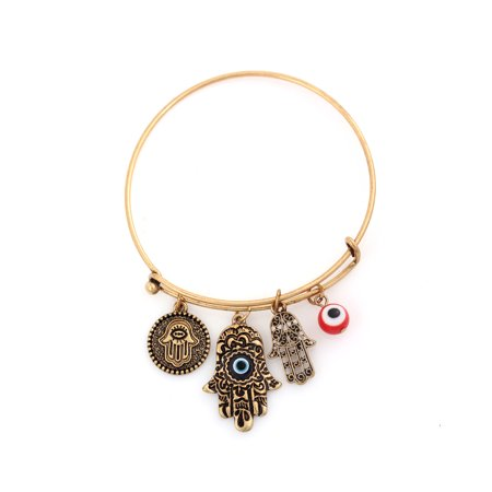 TAZZA WOMEN'S GOLD OXIDISED HAMSA HAND AND RED EVIL EYE CHARM BRACELET (Turquoise Hamsa Hand Bracelet)