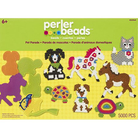 Perler Multicolor Beads Pet Parade Box Kit, 5000 Pieces and 3 Pegboards