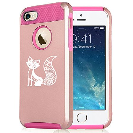 uk availability eb362 06b52 For Apple iPhone (6 Plus) (6s Plus) Shockproof Impact Hard Soft Case Cover  Fancy Fox (Rose Gold-Hot Pink)