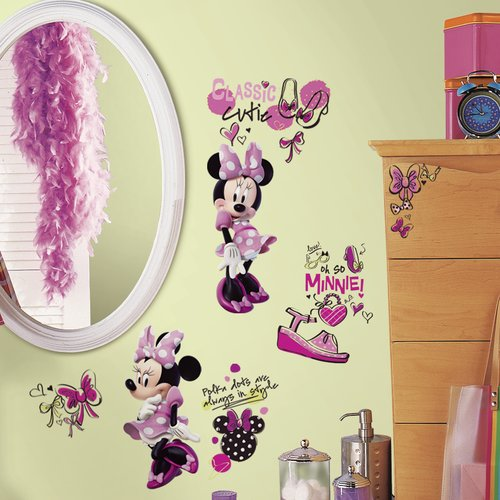 Mickey and Friends Minnie Fashionista Peel and Stick Wall Decals
