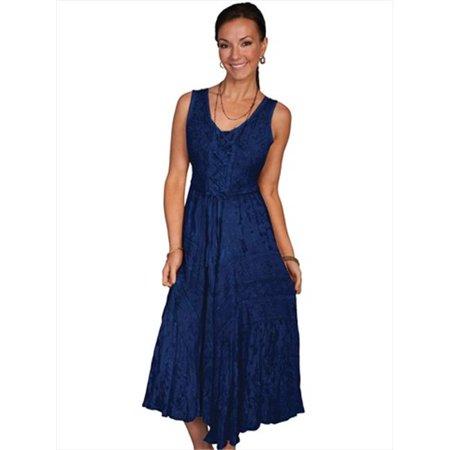 Honey Creek 100 Percent Rayon Womens Full Length Lace-Up Front Sleeveless Dress, Blue -
