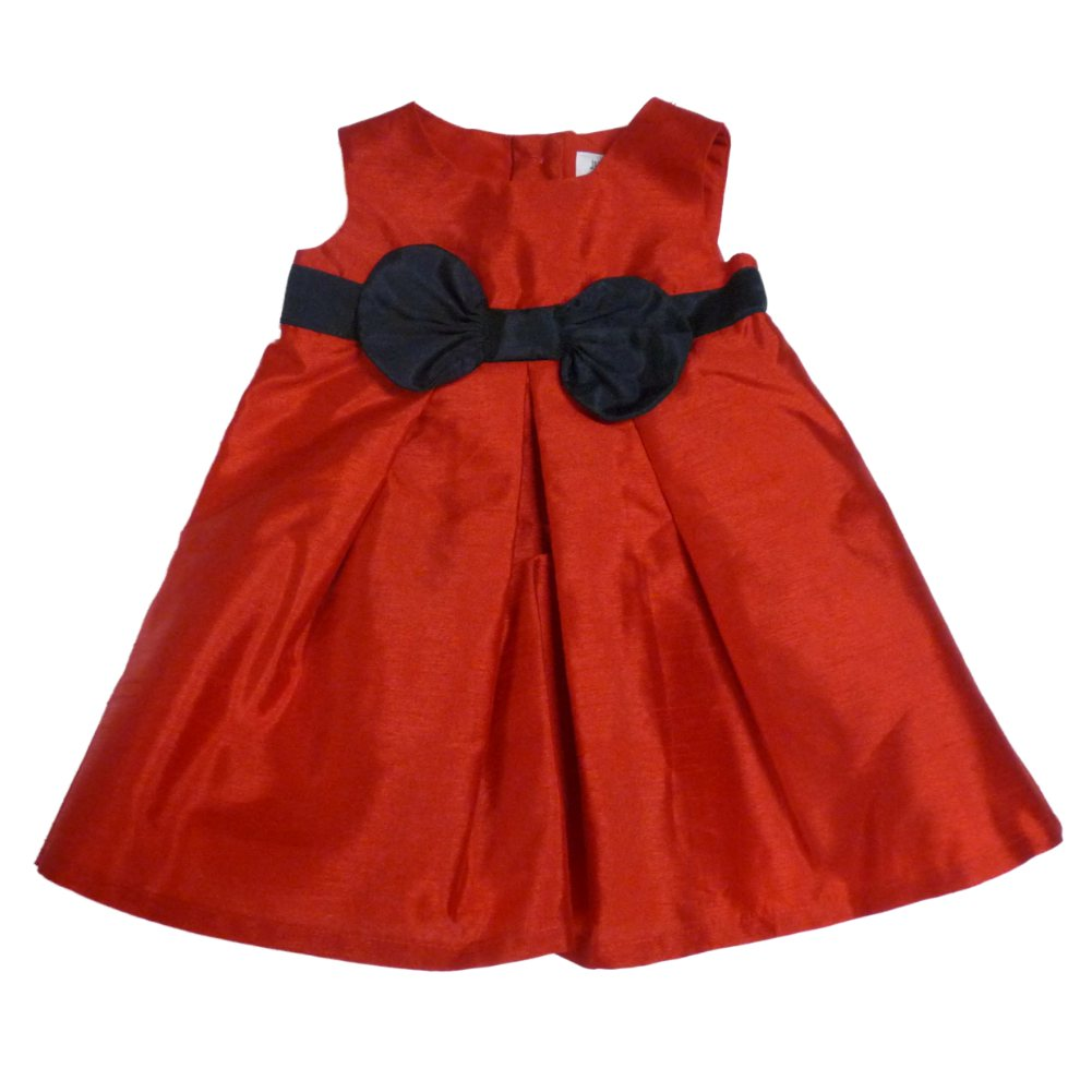 Carters Infant Girls Red Sleeveless Satin Party Dress with Black Bow