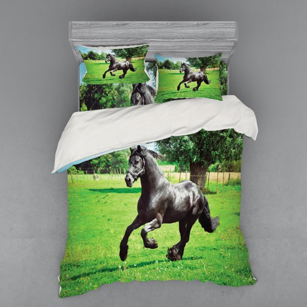 Horses Duvet Cover Set Friesian Male Horse Masculine Driving Force Of Life Power Inner Strength Bedding Set With Shams And Fitted Sheet 3 Sizes By Ambesonne Walmart Com Walmart Com