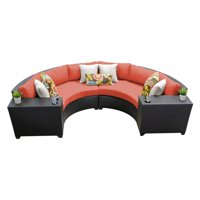 TK Classics Barbados Wicker 4 Piece Patio Conversation Set with Cup Table and 2 Sets of Cushion Covers