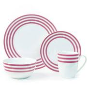 Cruise Multi-Striped Collection 16-Piece Porcelain Dinnerware Set, Walmart Exclusive
