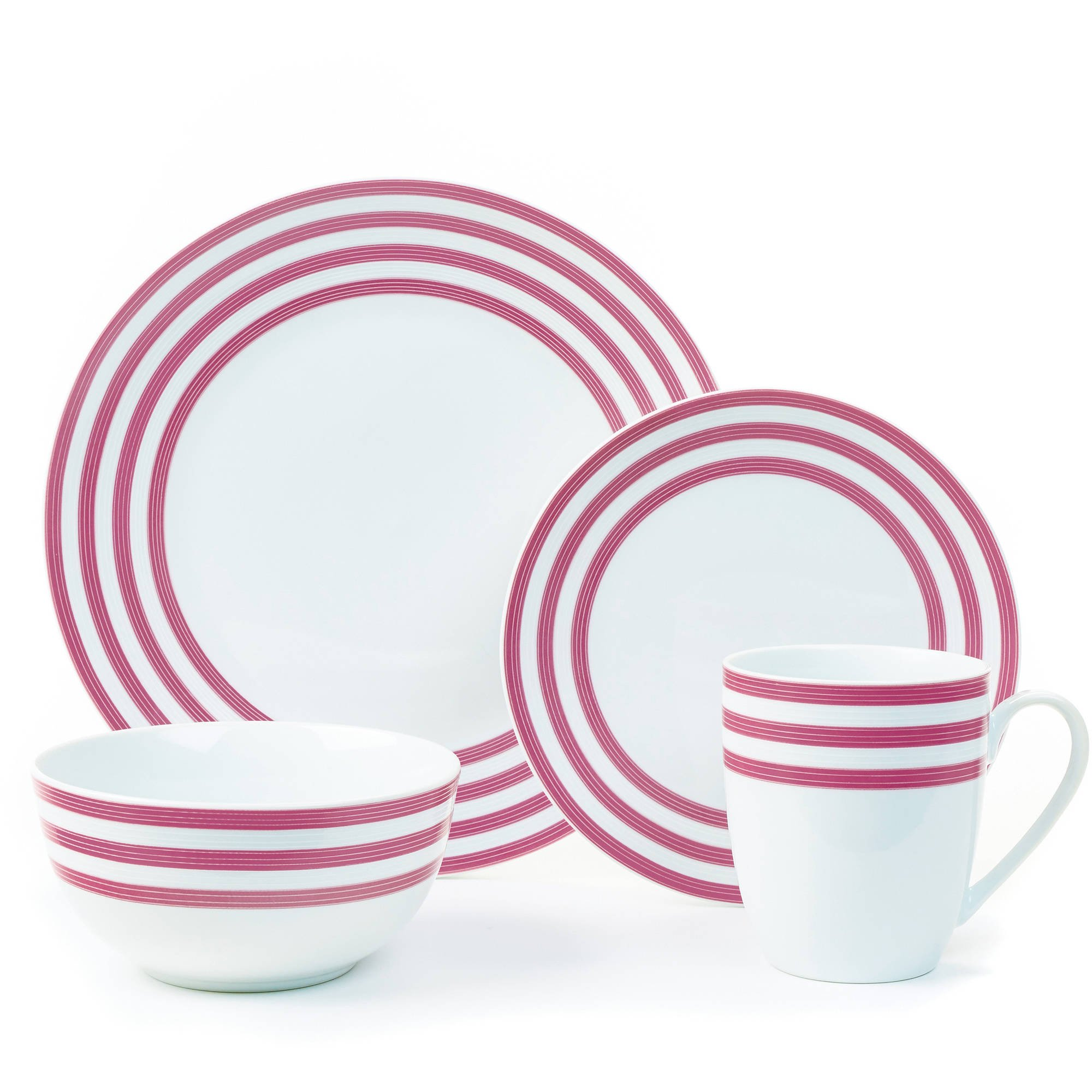 Cruise Multi-Striped Collection 16-Piece Porcelain Dinnerware Set Exclusive  sc 1 st  Walmart & Dinnerware Sets - Walmart.com