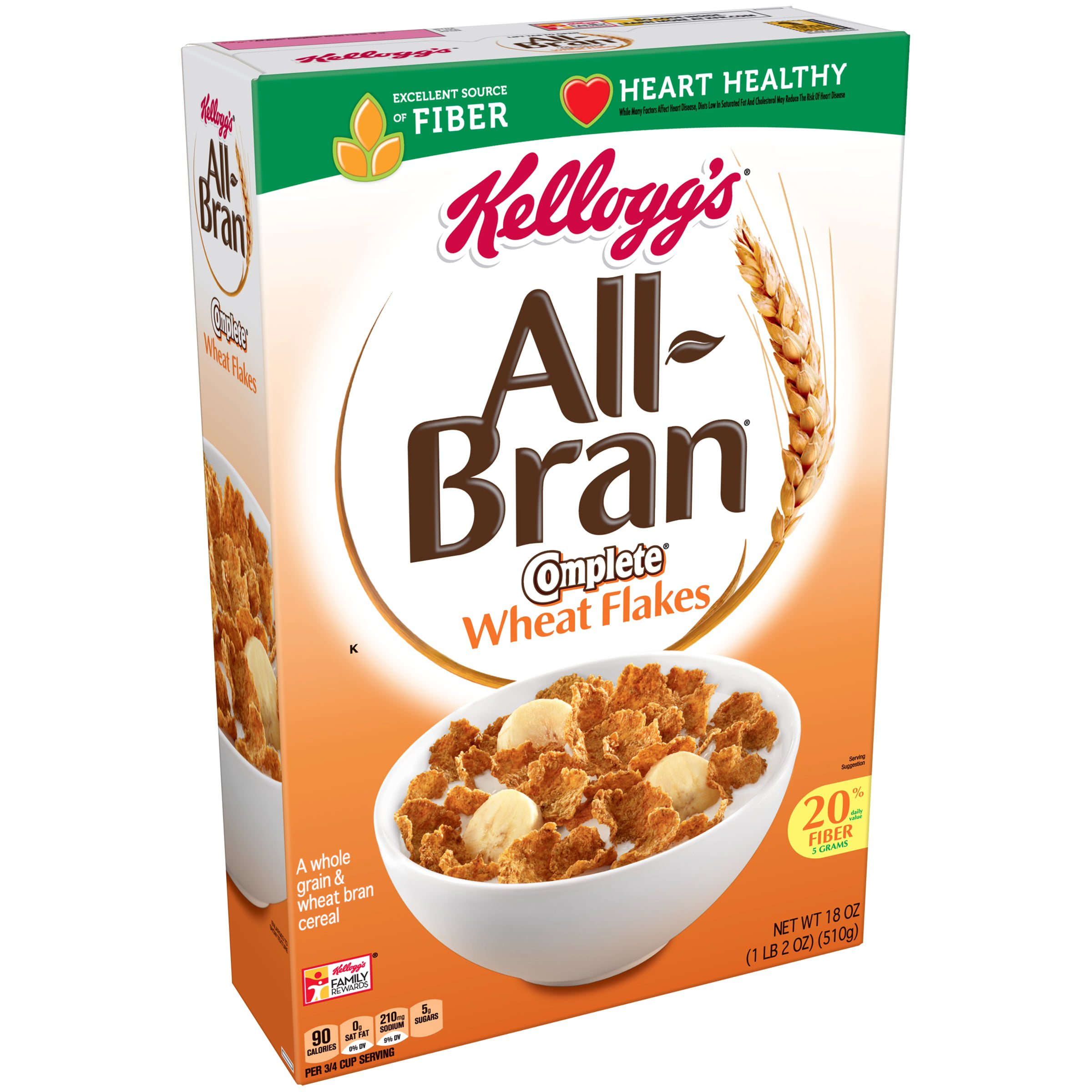 Kellogg's All-Bran Complete Wheat Flakes Breakfast Cereal