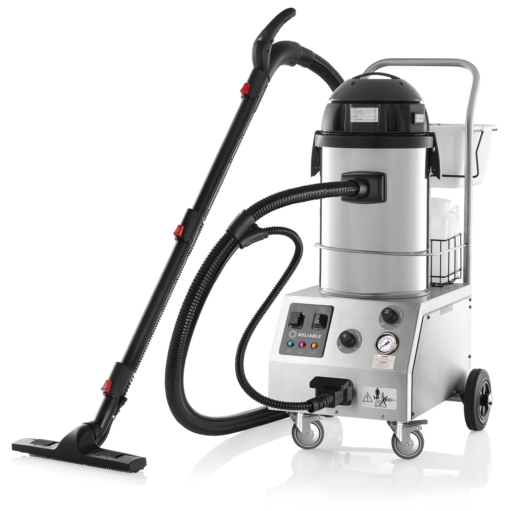 Reliable Tandem Pro Commercial Steam Cleaner with Wet/Dry Vacuum - Made in Italy, Chrome, 2000CV