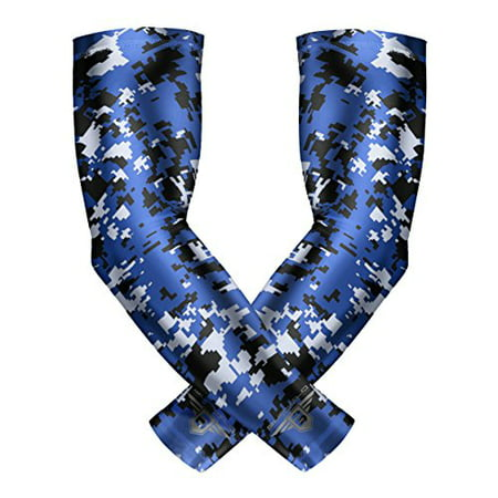 Bucwild Sports Compression Arm Sleeves 1 Pair - 2 Sleeves Youth & Adult Sizes Football Baseball Basketball Cycling Tennis Solid color, Digital Camo, Flames (Youth