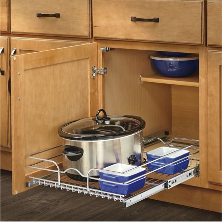 "Rev-A-Shelf 5WB Series 18"" Single Pull Out Chrome Wire Basket"