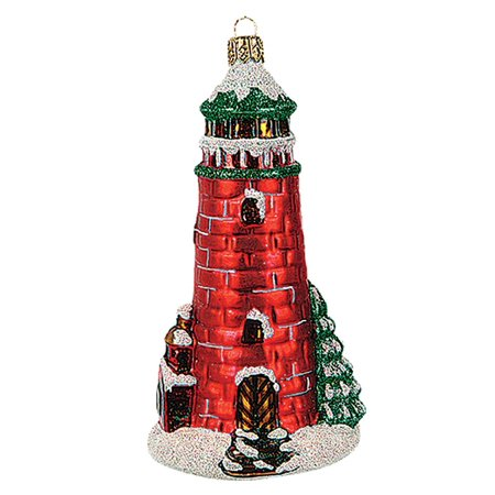 red lighthouse polish mouth blown glass christmas ornament tree decoration