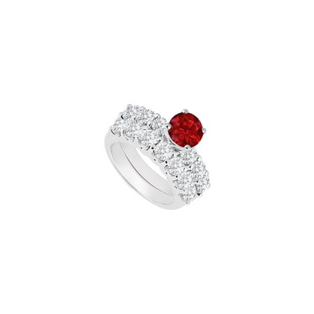 Ruby Gold Wedding Bands - 14K White Gold Created Ruby and Cubic Zirconia Engagement Ring with Wedding Band Set 1.15 CT TGW
