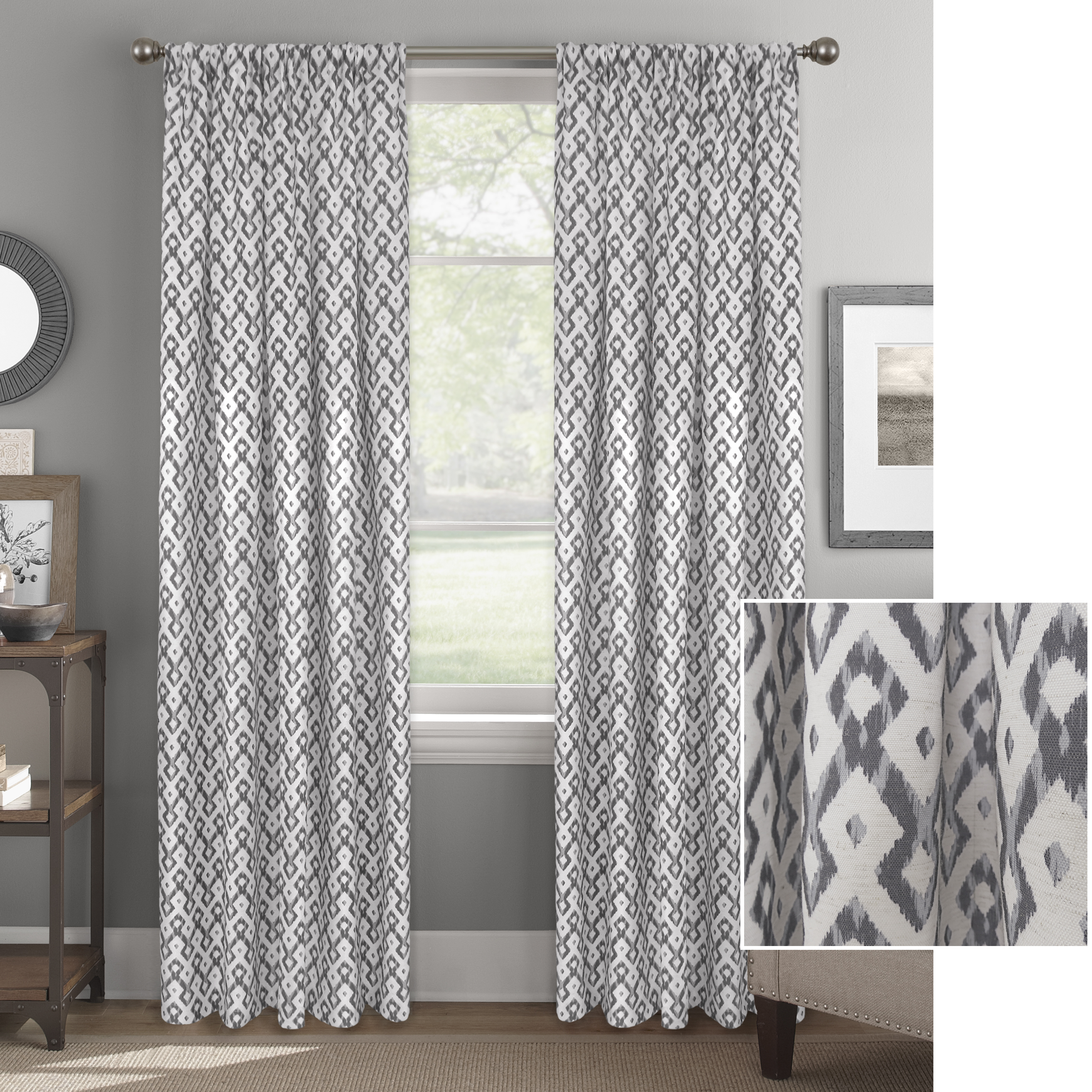 Better Home and Gardens Ikat Lattice Window Curtain Panel