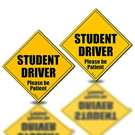 Zento Deals 2 Pack of All Weather Reflective Student Driver Please Be Patient Magnetic Sign
