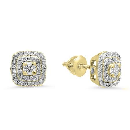 0.50 Carat (ctw) 18K Yellow Gold Round Cut White Diamond Ladies Halo Style Stud Earrings 1/2 (18k Yellow Gold Plain Dome)