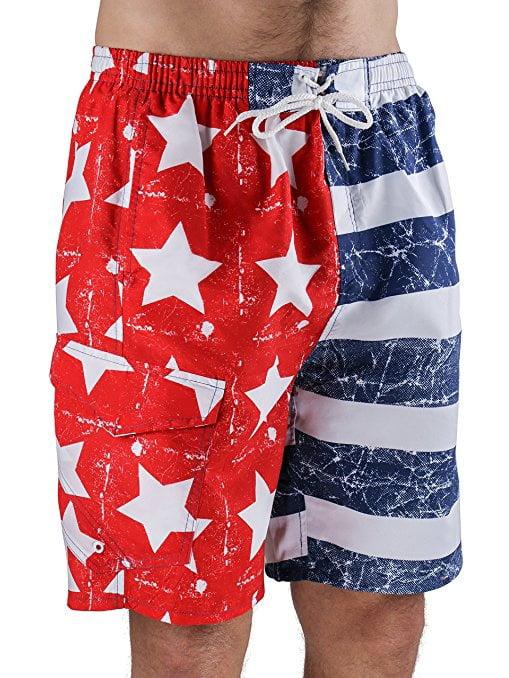 North 15 Men's USA American Flag Swim Trunk Boardshorts with Cargo Pokcet-7110-Print4-2XL