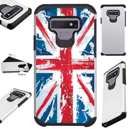 For Samsung Galaxy Note 9 Case Hybrid TPU Fusion Phone Cover (UK Flag Faded) ()