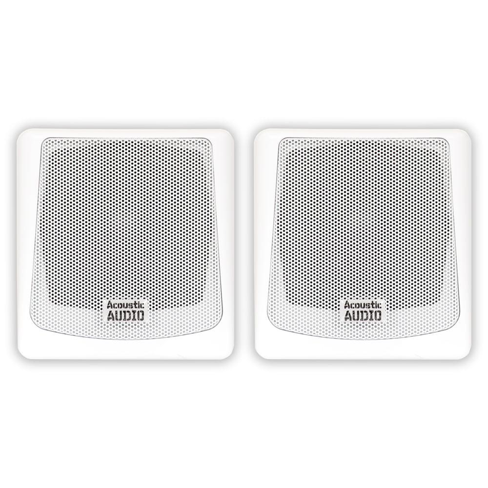 Image of Acoustic Audio AA051W Mountable Indoor or Outdoor Speakers White Bookshelf Pair