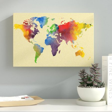 Ebern Designs Carlsen Vintage Rainbow World Map Graphic Art Print