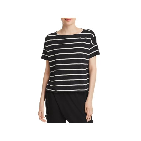 Eileen Fisher Womens Petites Bateau Striped Short Sleeves T-Shirt