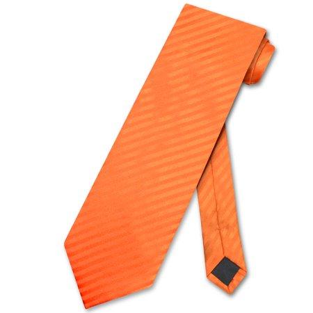 Pinstripe Suit Striped Tie (Vesuvio Napoli NeckTie ORANGE Striped Vertical Stripes Design Men's Neck Tie)