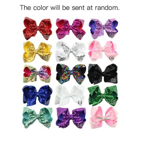 Bling Hair Bow (Children Cute Hairpin Girl Lovely Bowknot Hair Accessories Bling Sparkly Glitter Hair Bows Clip )