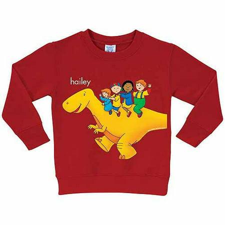 Ride T-shirt Sweatshirt - Personalized Caillou Dinosaur Ride Toddler Boy Red Pullover Sweatshirt