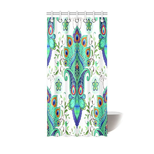 GCKG Vintage Tropical Paisley Peacock Shower Curtain Hooks