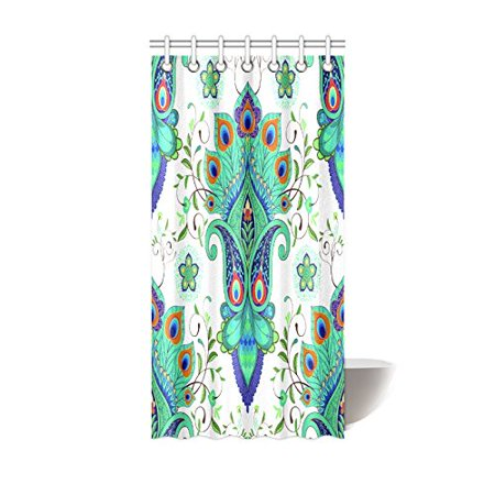 Tropical Paisley Peacock Shower Curtain Hooks 36x72 Inches White Green Fabric Oriental Flowers Art With Feathers Leaves
