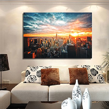 New York City Sunset Cityscape Home Decor Picture Still Life Hanging Silk Cloth Poster Wall Art 35 x 23