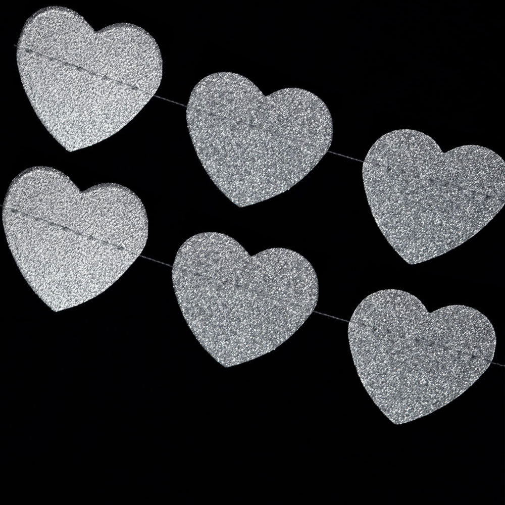 Quasimoon Silver Glitter Heart Shaped Paper Garland Banner (10FT) by PaperLanternStore