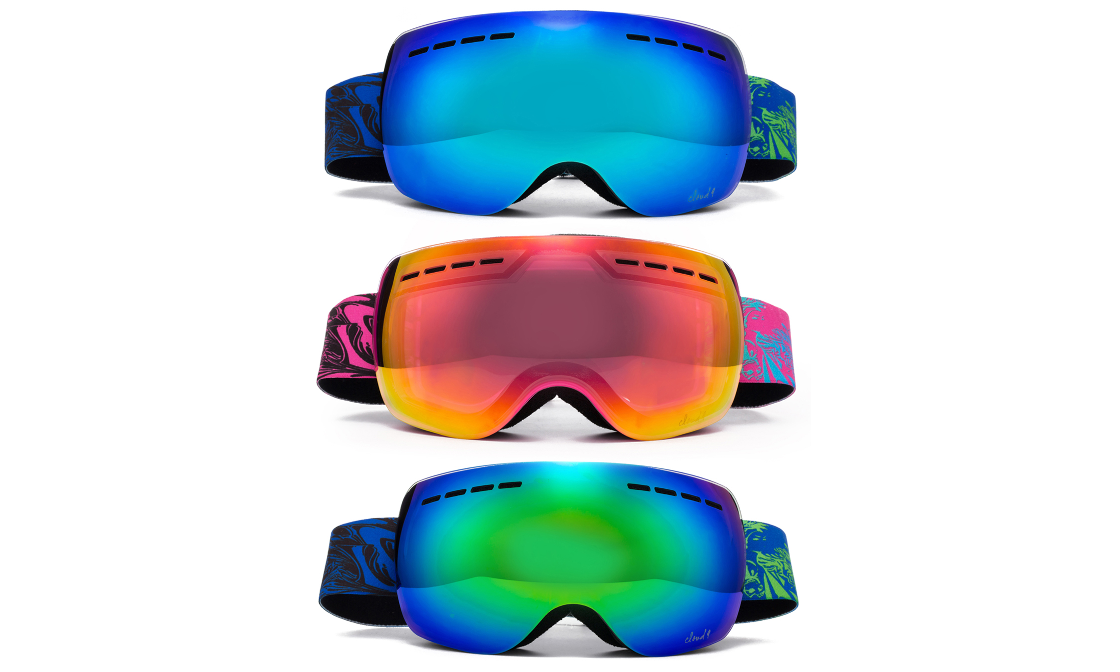 "Cloud 9 Snow Goggles ""Nuclear"" Adult Anti-Fog Wide Angle Frameless UV400 Snowboarding Ski (2017 Model)(1 Pair... by"