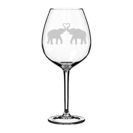 Wine Glass Goblet Elephants Making Heart (20 oz Jumbo) (Jumbo Wine Glasses Centerpieces)