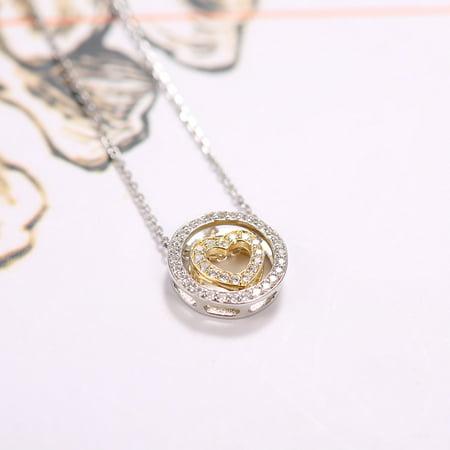 Mode Simple Cercle Coeur Pendentif Collier Embedded Cristal Clavicule Chaîne Femmes Bijoux - image 1 of 7