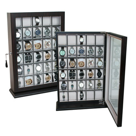 30 Piece Ebony Wood Watch Display Case Wall Stand Holds Watches up to 65 MM ()
