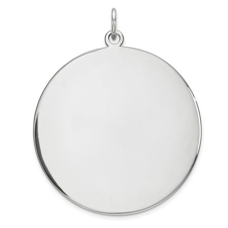 Solid 925 Sterling Silver Rhod-plated Eng. Rnd Polish Front Satin Back Disc Pendant (Length:36mm|Width:29mm) Fine Jewelry Valentine's Day Gifts