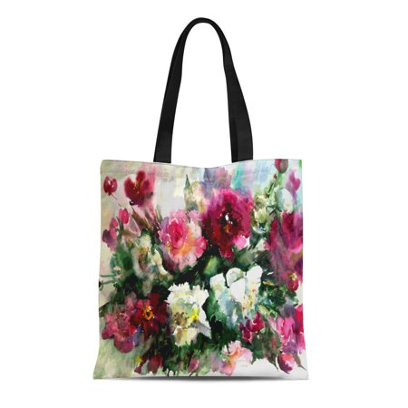 ASHLEIGH Canvas Bag Resuable Tote Grocery Shopping Bags Watercolor Floral Flowers Violet Pink White Peonies Bouquet Nature Wet Tote Bag