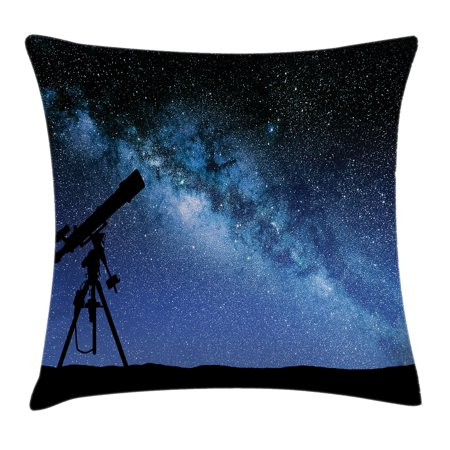 Galaxy Throw Pillow Cushion Cover  Telescope Valley Under Starry Night Sky Milky Way Atmosphere Galaxy Astronomy  Decorative Square Accent Pillow Case  20 X 20 Inches  Dark Blue Black  By Ambesonne