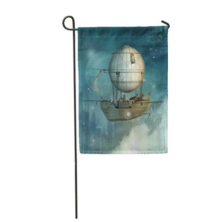 SIDONKU Steampunk Fantasy Vessel Flies in The Sky Over Futuristic Town Garden Flag Decorative Flag House Banner 12x18 (Futuristic Steampunk)