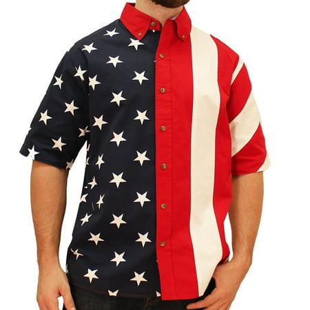The Flag Shirt Men's Half Stars Half Stripes American Flag Woven Polo Shirt All Star Sports Clothes