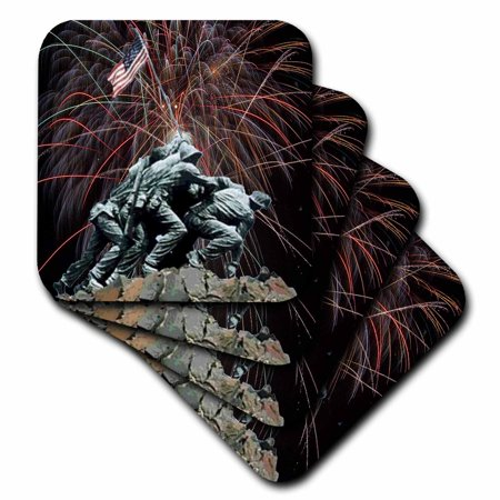 3dRose Marine Corp Memorial with Fireworks, Soft Coasters, set of 4 Marine Corps Glass